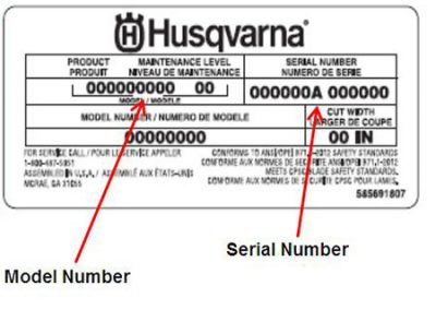 Husqvarna sticker machine info